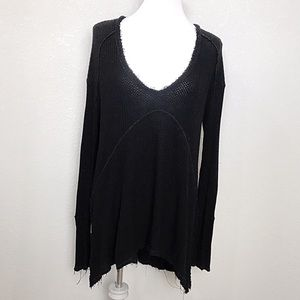 Free People black Drippy Thermal Sunset Park Top